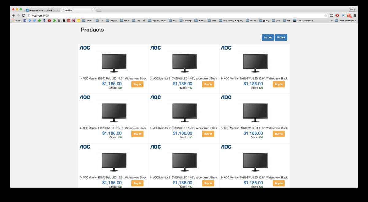 Listado de productos con diferentes templates – Kendo UI yBootstrap